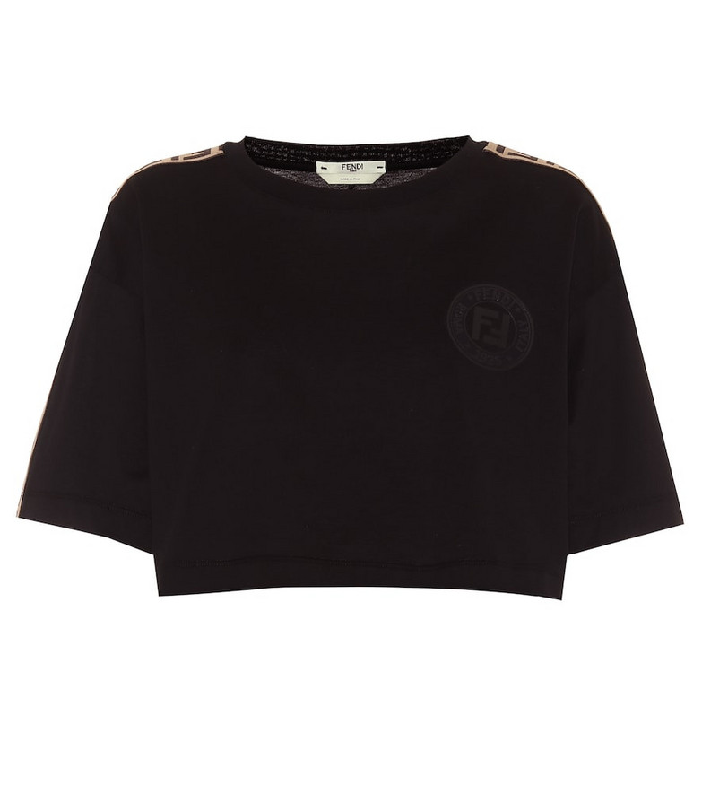 Fendi Cotton-jersey crop top in black