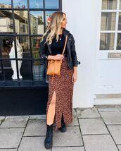skirt,maxi skirt,slit skirt,floral skirt,black boots,black leather jacket,crossbody bag,black top