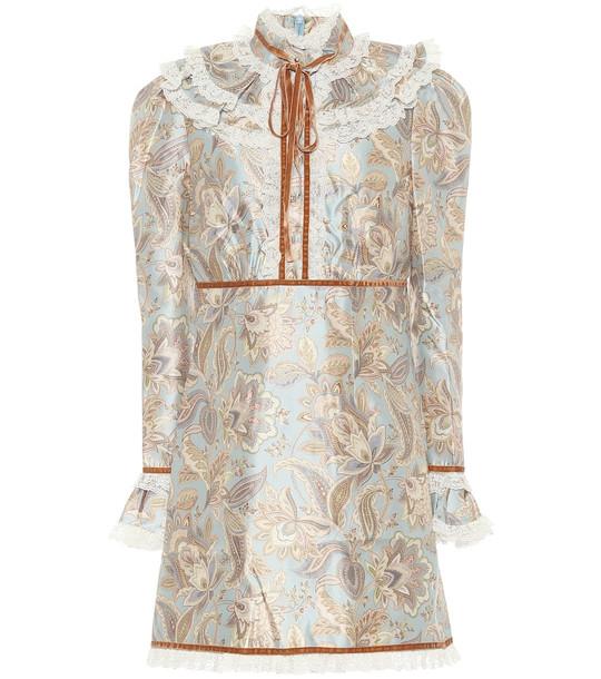 Zimmermann Ladybeetle wool-blend minidress in brown