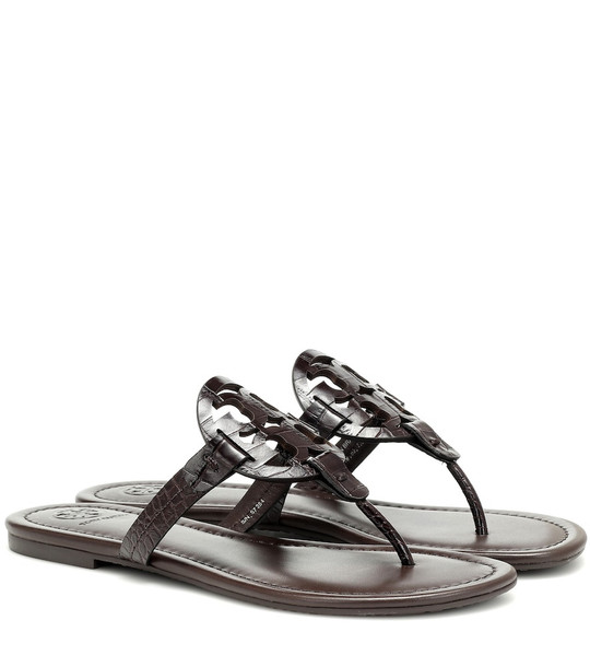 Tory Burch Miller croc-effect leather sandals in brown