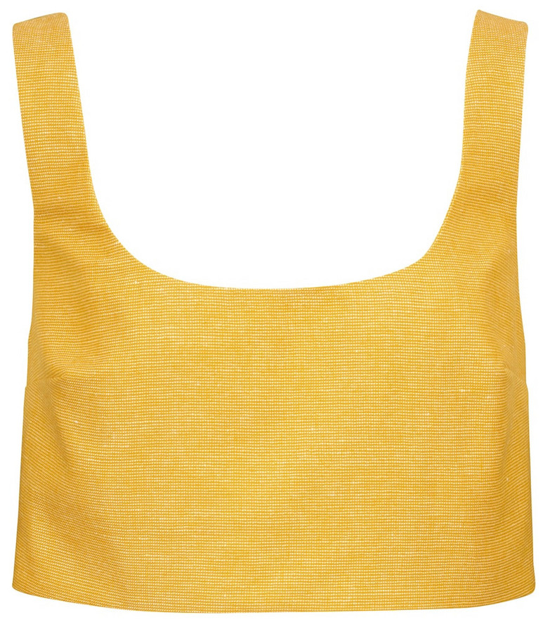 Gabriela Hearst Joan cashmere and linen crop top in yellow