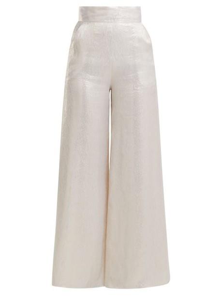 Adriana Iglesias - Ana Wide Leg Silk Blend Satin Trousers - Womens - White