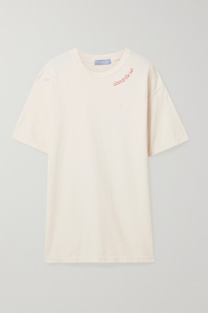 Paradised - Embroidered Cotton-jersey T-shirt - Ivory