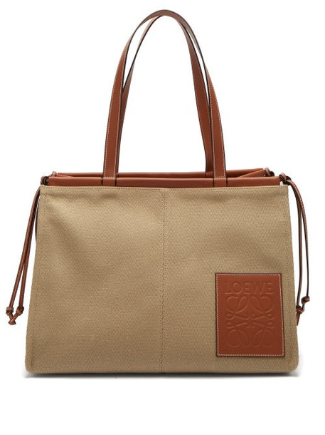Loewe - Cushion Large Canvas Tote Bag - Womens - Beige Multi
