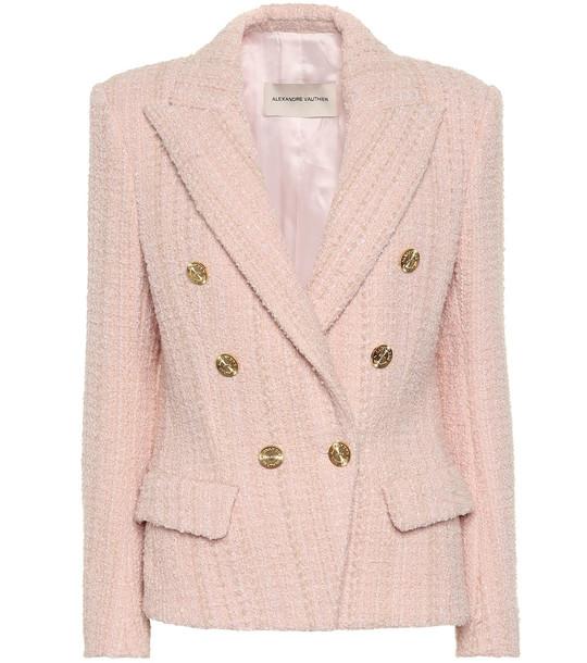 Alexandre Vauthier Wool-blend tweed blazer in pink