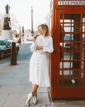 dress,shirt dress,midi dress,white dress,belt,ankle boots,silver