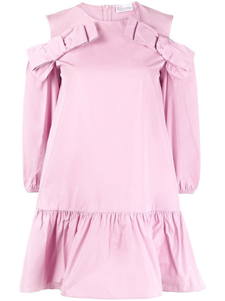 RED Valentino cold-shoulder shift dress in pink
