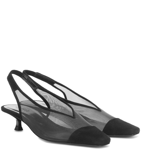 By Far Kendall suede slingback pumps in black