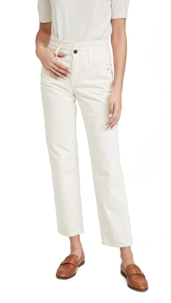 Veronica Beard Jean Blake Straight with Notch Jeans in ecru