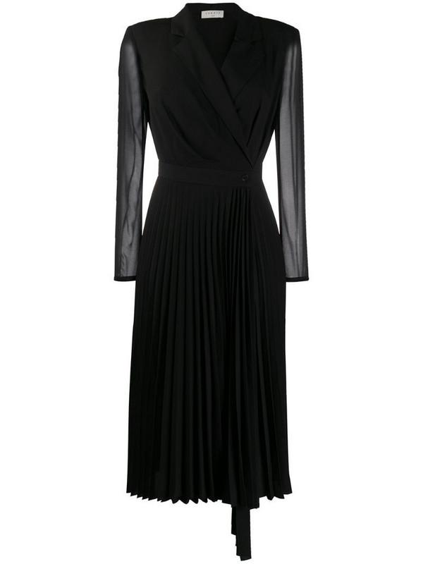 Sandro Paris longsleeved V-neck dress in black