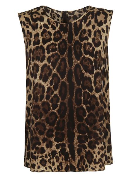 Dolce & Gabbana Leopard Print Sleeveless Top