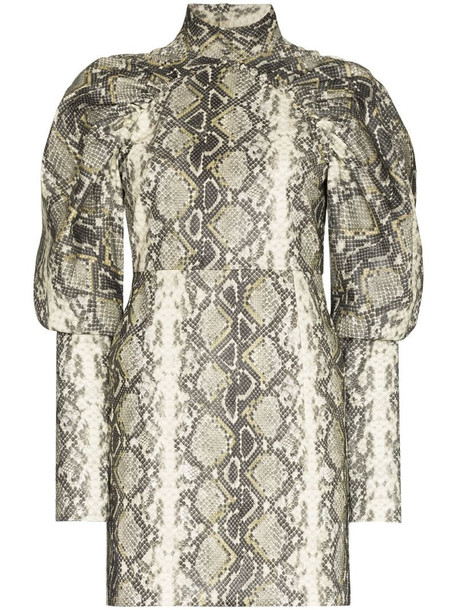 ROTATE Kim Snake Print Mini Dress in grey