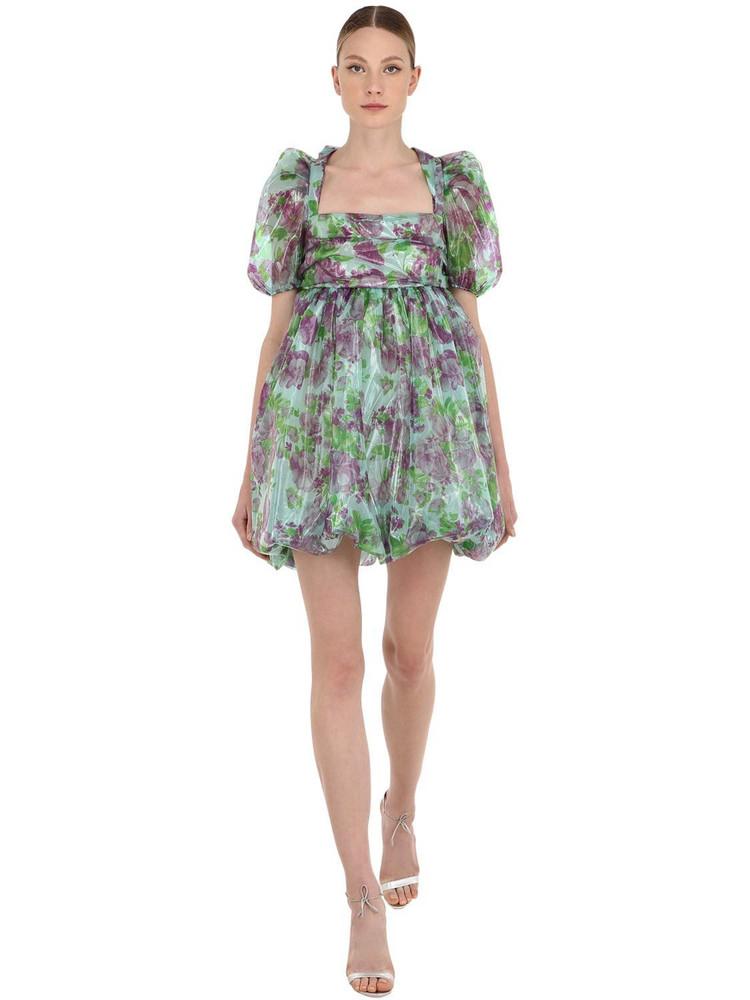 VIVETTA Floral Print Organza Mini Dress in mint / purple