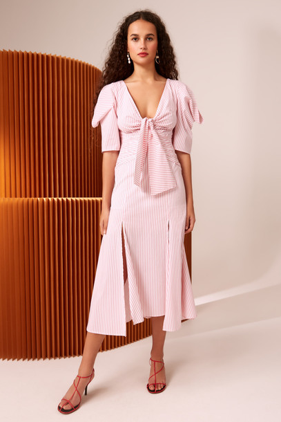 C/MEO COLLECTIVE CLOSE ENOUGH MIDI DRESS ivory stripe