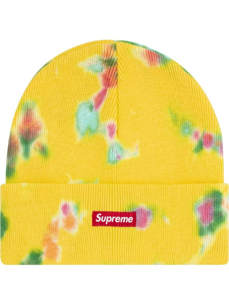 Supreme splatter dyed beanie in yellow
