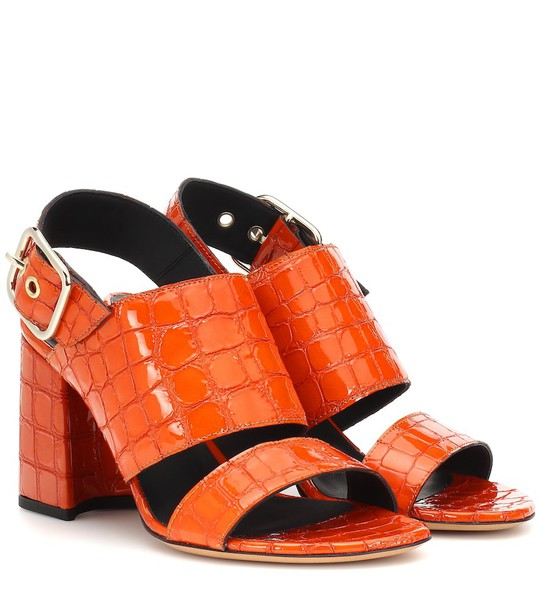 Dries Van Noten Embossed leather sandals in orange