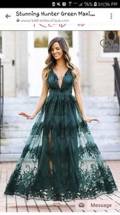 dress,green,lace dress,black lace dress,beautiful green dress,maxi dress,deep v dress