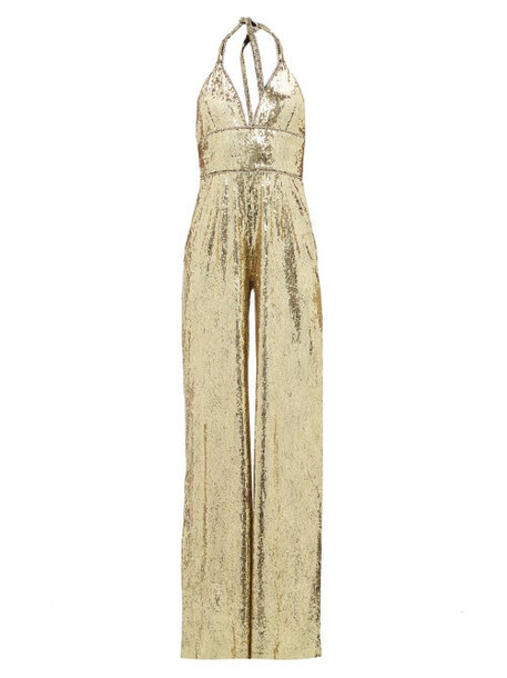 Dundas - Sequinned And Crystal Trim Halterneck Jumpsuit - Womens - Gold