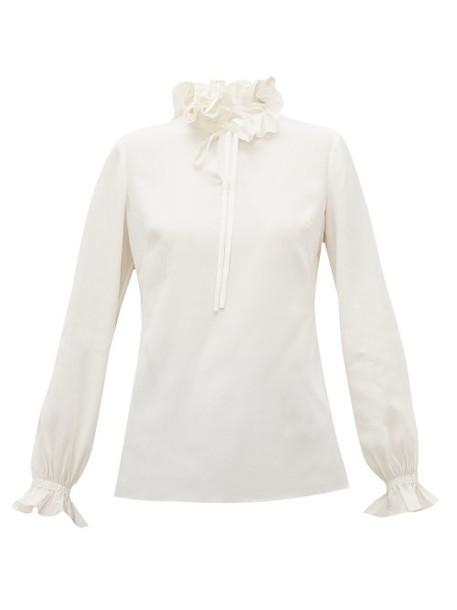 Goat - Irving Ruffle Collar Silk Crepe De Chine Blouse - Womens - Ivory