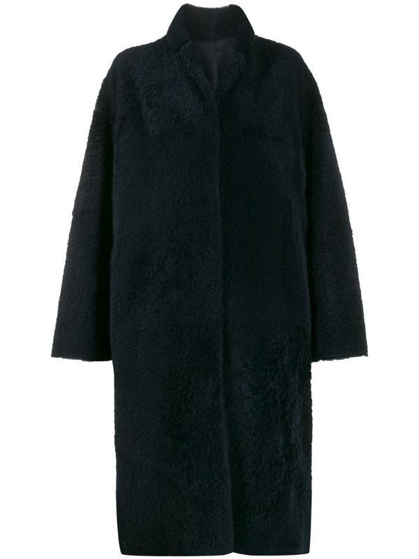 Liska textured mid-length coat in blue