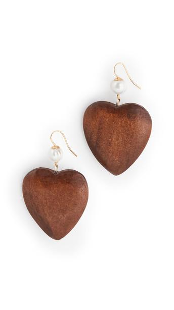 Sophie Monet The Wood Heart Earrings in multi