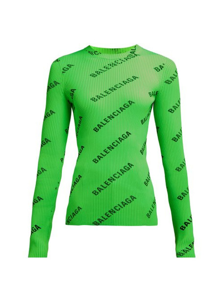Balenciaga - Diagonal Logo Printed Ribbed Knit Top - Womens - Green Multi