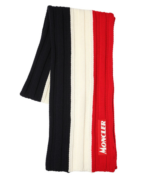 MONCLER Color Block Virgin Wool Knit Scarf in blue / red / white