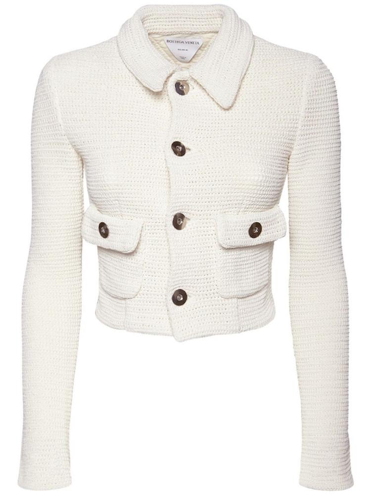 BOTTEGA VENETA Cropped Knit Mesh Jacket in white
