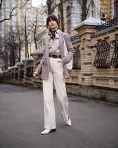 jacket,plaid blazer,wide-leg pants,white pants,high waisted pants,white boots,shirt,turtleneck,white bag