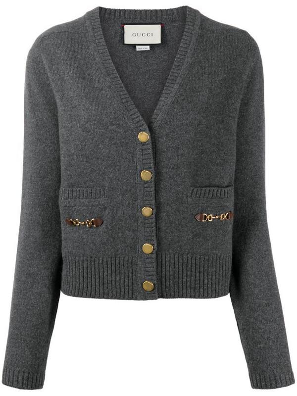 Gucci Horsebit-detail buttoned cardigan in grey