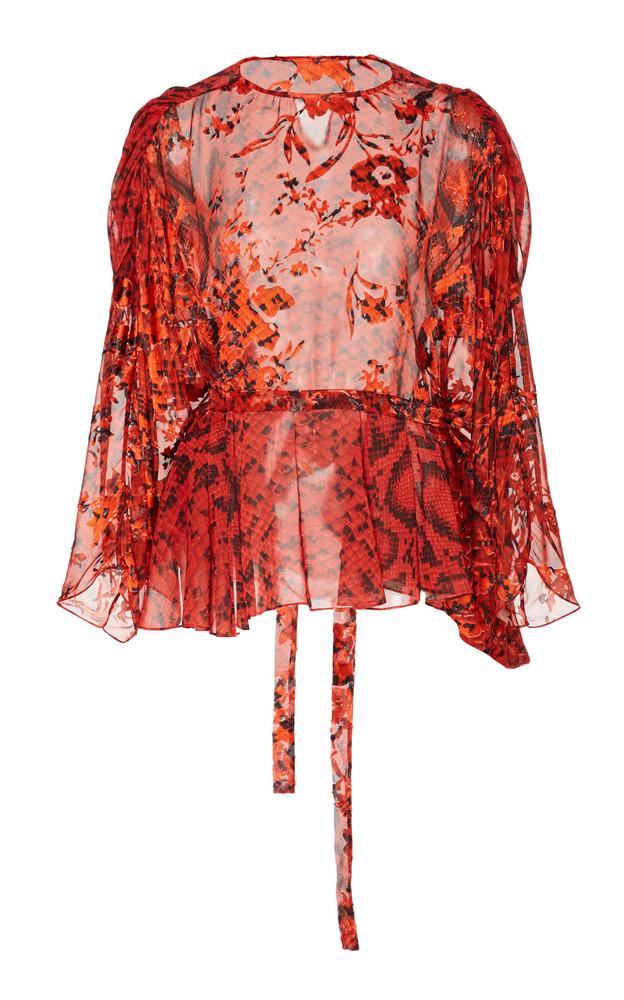 Preen by Thornton Bregazzi Delna Sheer Jacquard Blouse in red