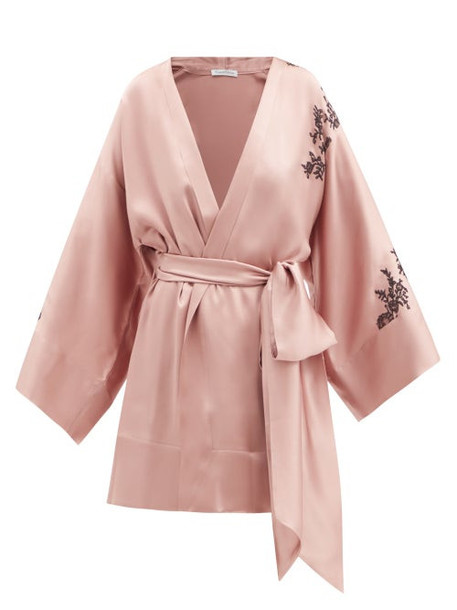 Carine Gilson - Caudry Lace-trimmed Silk-satin Short Robe - Womens - Light Brown