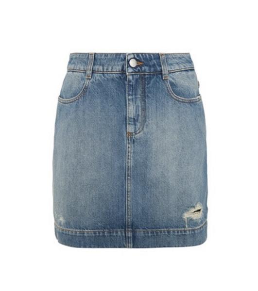Stella McCartney Distressed denim miniskirt in blue