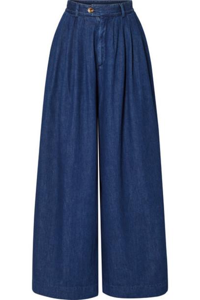 King & Tuckfield - High-rise Wide-leg Jeans - Mid denim