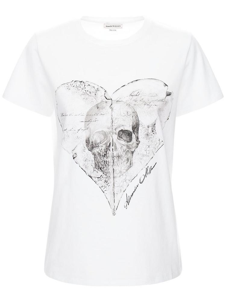 ALEXANDER MCQUEEN Skull Print Cotton Jersey T-shirt in white