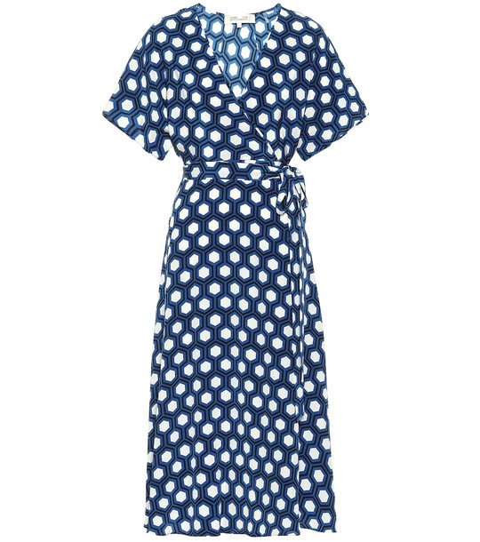 Diane von Furstenberg Kelsey printed silk midi wrap dress in blue