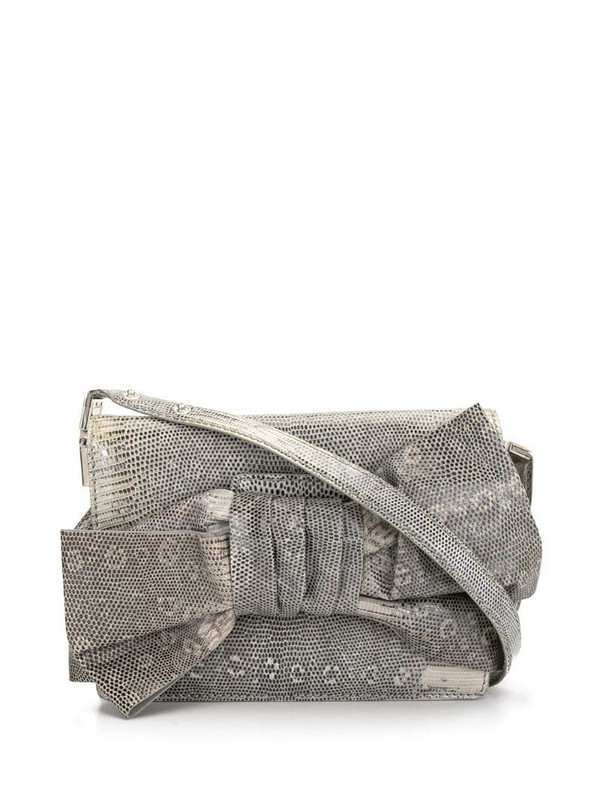 Valentino Pre-Owned snakeskin effect oversized bow crossbody bag in white