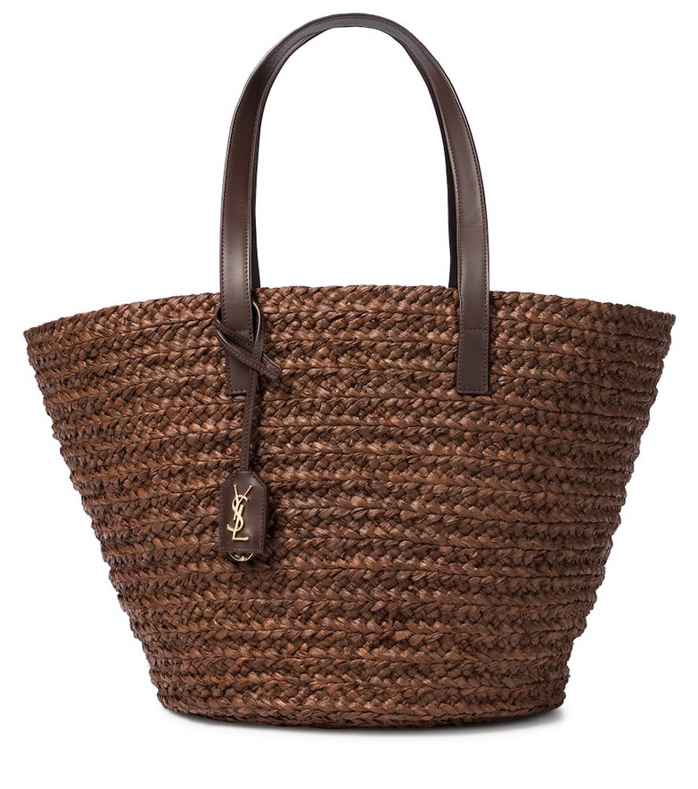 Saint Laurent Panier leather-trimmed raffia tote in brown