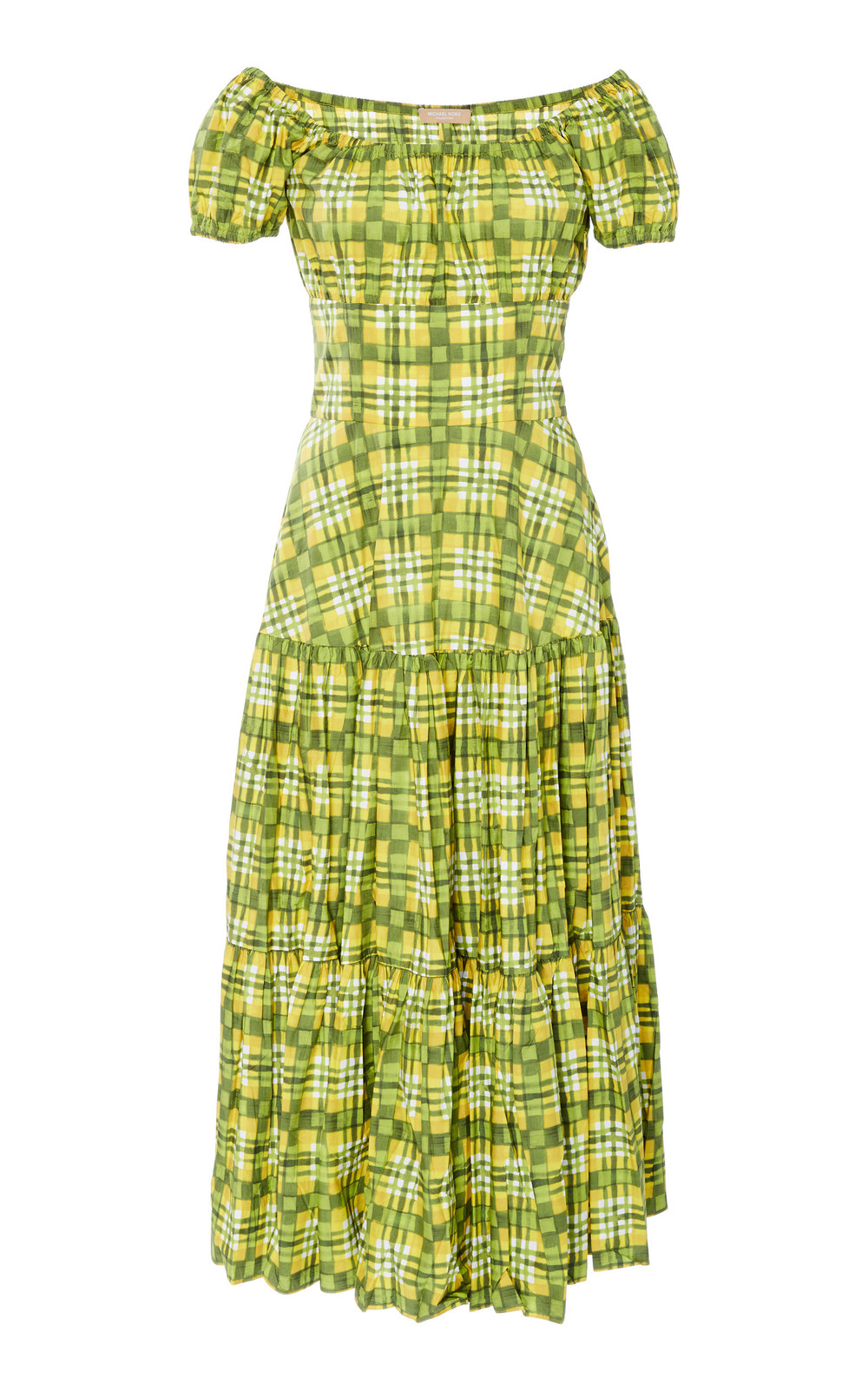 Michael Kors Collection Crushed Cap-Sleeve Cotton Tiered Dress in green