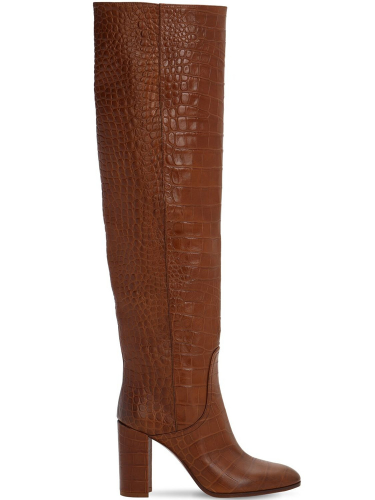 STRATEGIA 80mm Croc Embossed Over The Knee Boots in brown