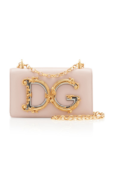 Dolce & Gabbana Embellished Leather Shoulder Bag in pink