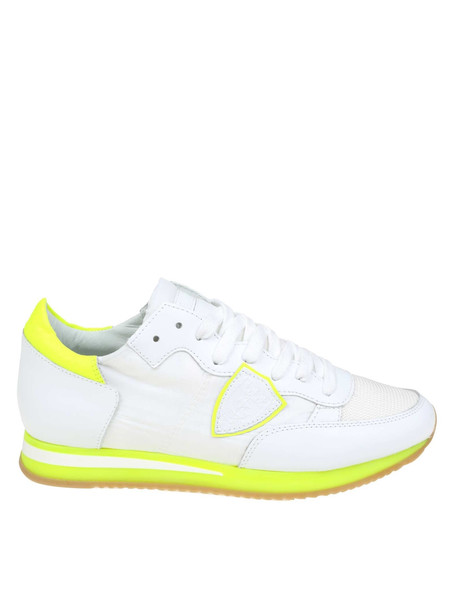 Philippe Model Sneakers Tropez Leather And Fabric White / Yellow Fluo