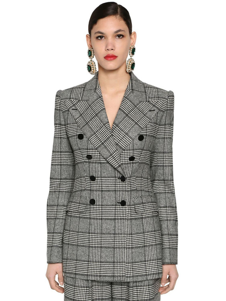 DOLCE & GABBANA Double Breast Prince Of Wales Jacket in black / white