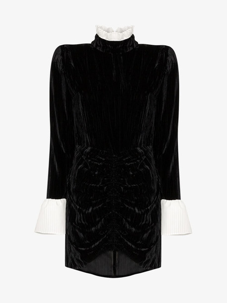 ROTATE Miki contrast trim velvet mini dress in black
