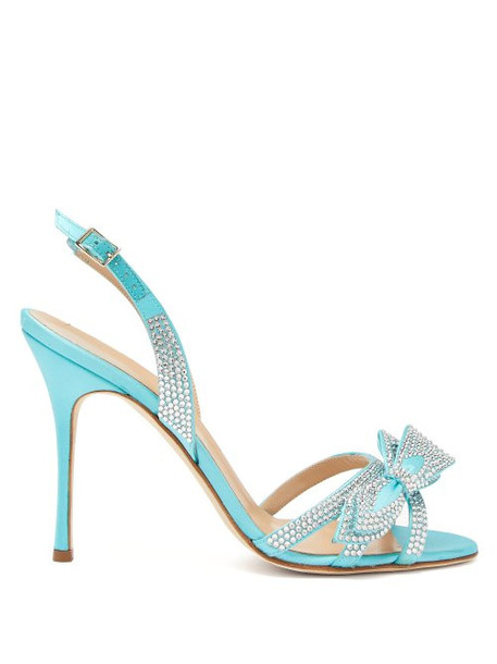 Alessandra Rich - Crystal Embellished Satin Slingback Sandals - Womens - Blue