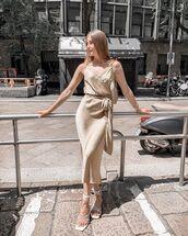 dress,midi dress,slip dress,white sandals,bag