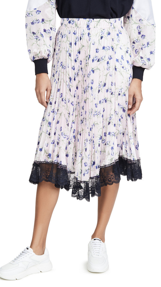 Clu Pleated Floral Skirt in violet