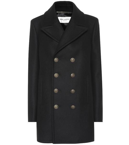 Saint Laurent Virgin wool coat in black