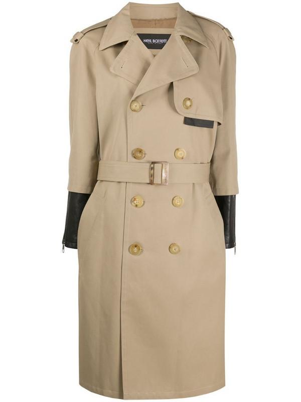 Neil Barrett two-tone trench coat in neutrals