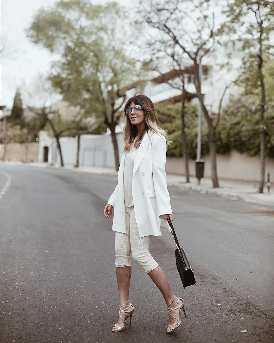 shorts white shorts sequins zara white blazer double breasted white sandals jimmy choo white top black bag